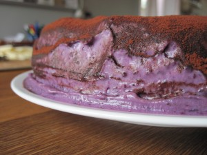 Chokoladekage med blåbærchokoladekage fra siden